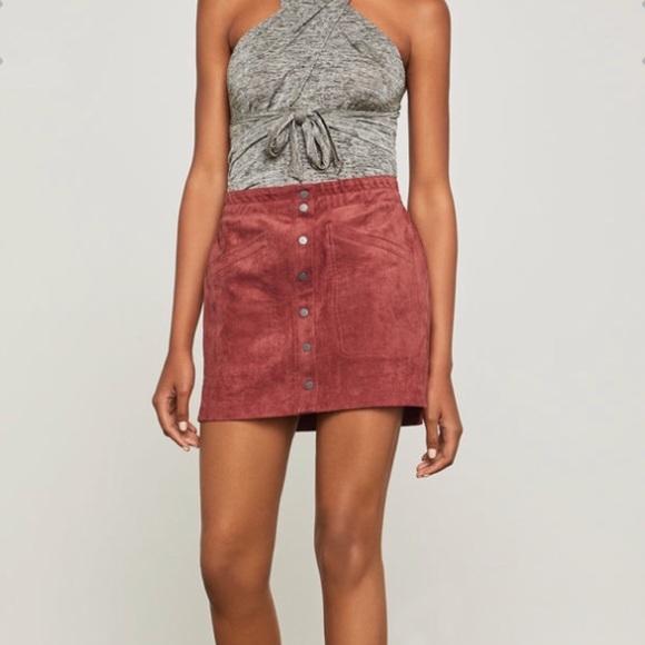 a71fe53b8e BCBGMaxAzria Skirts | Fauxsuede Tandoori Spice Mini Skirt | Poshmark